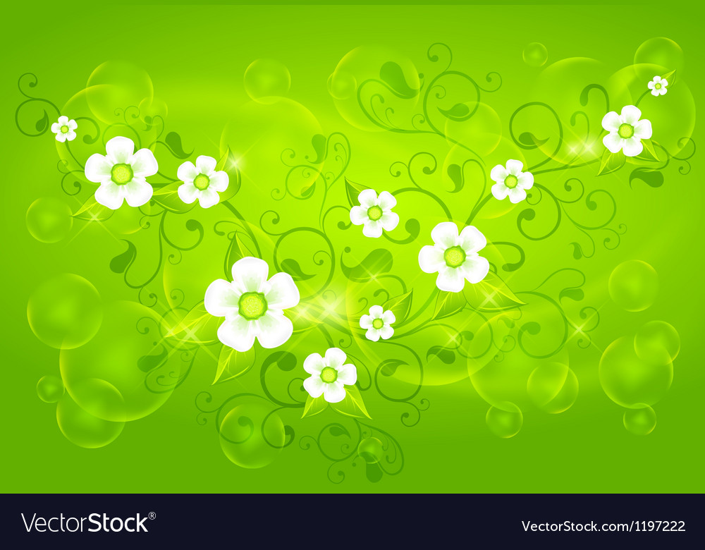 Spring floral green vector | Price: 1 Credit (USD $1)