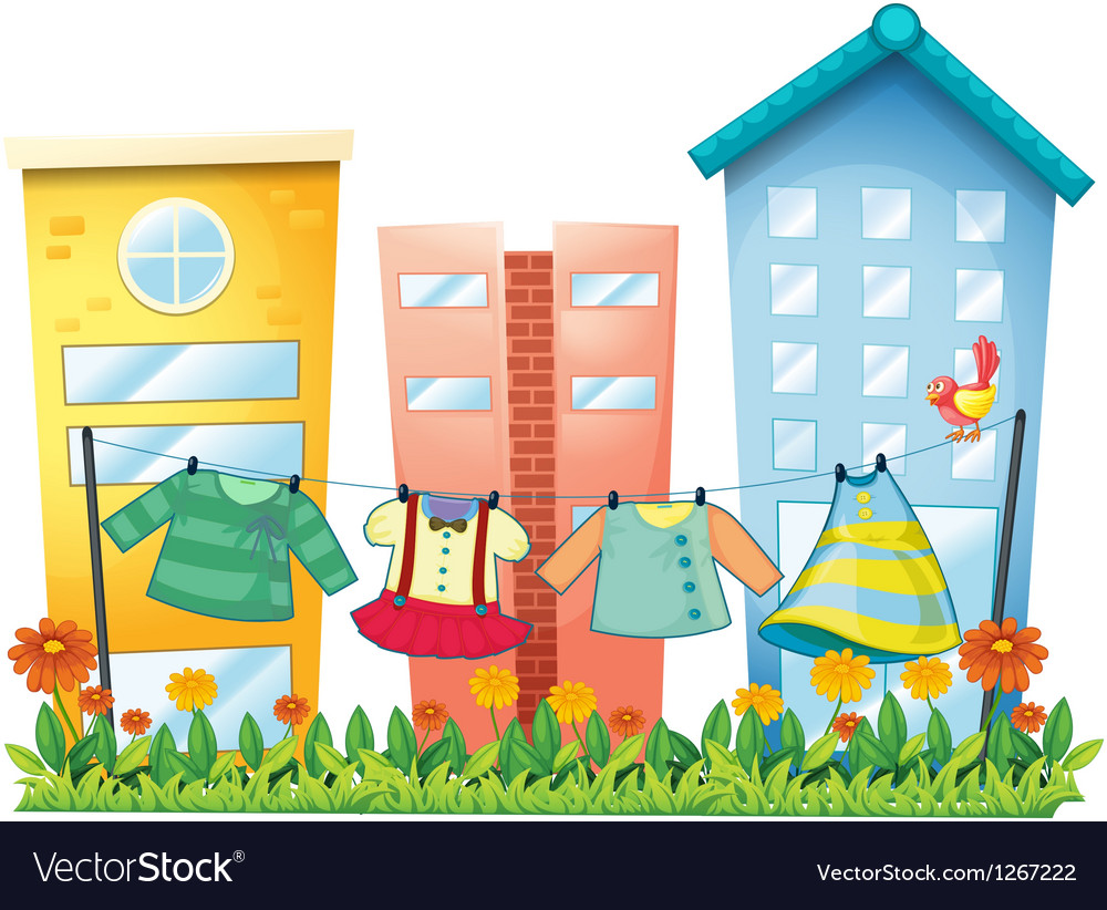 Washed clothes hanging in the garden with a bird vector   Price: 1 Credit (USD $1)