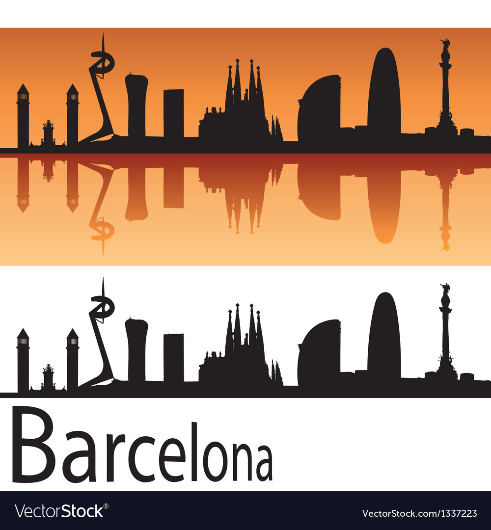 Barcelona skyline in orange background vector | Price: 1 Credit (USD $1)