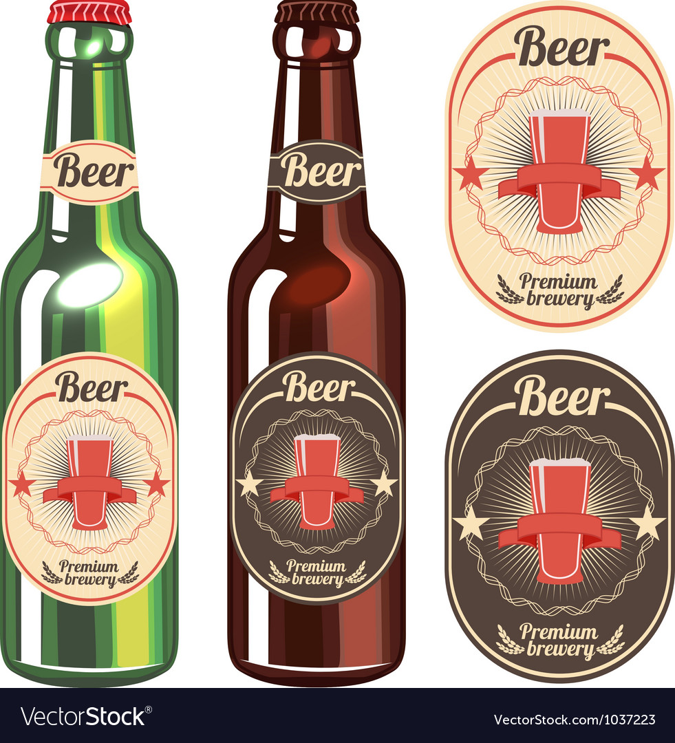 Bottle of light and dark beer with vintage label vector | Price: 1 Credit (USD $1)