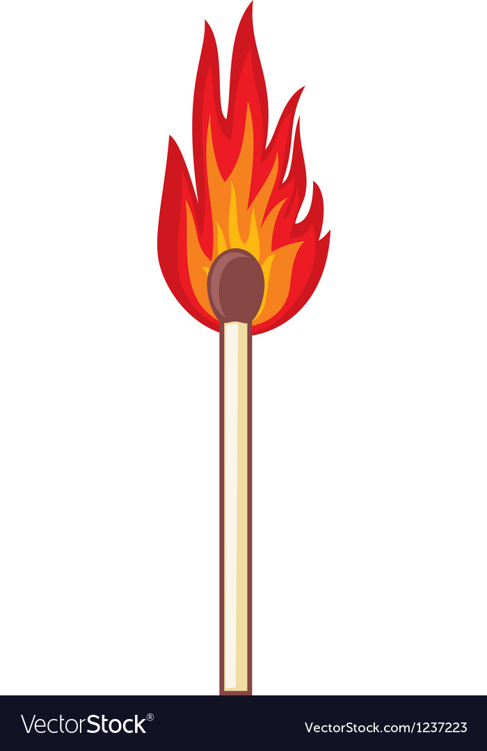 Burning match stick on a white background vector | Price: 1 Credit (USD $1)