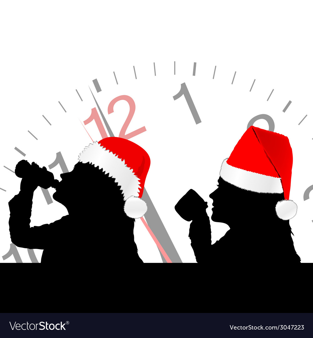 Girl in red christmas hat drinking vector | Price: 1 Credit (USD $1)