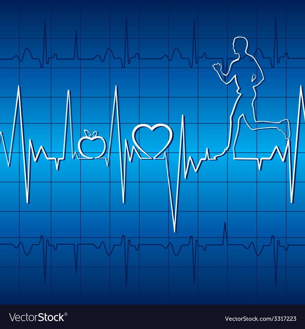 Heartbeat graph with running men in blue backgroun vector | Price: 1 Credit (USD $1)