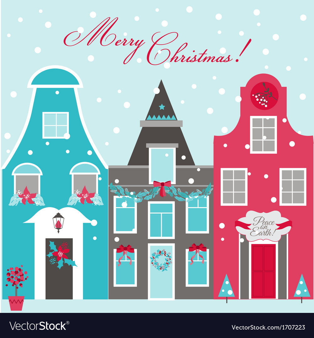 Retro christmas invitation card - christmas houses vector | Price: 1 Credit (USD $1)
