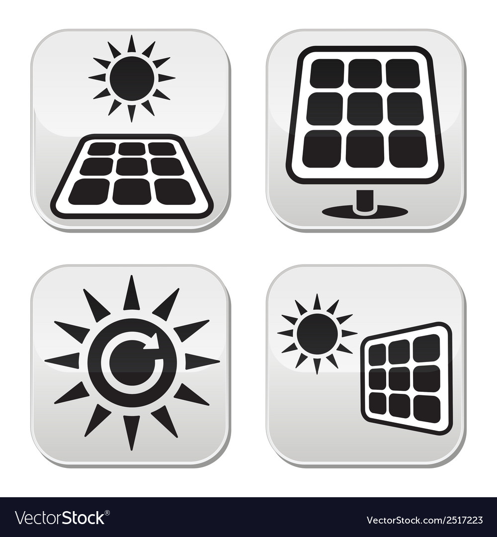 Solar panels solar energy white buttons set vector | Price: 1 Credit (USD $1)