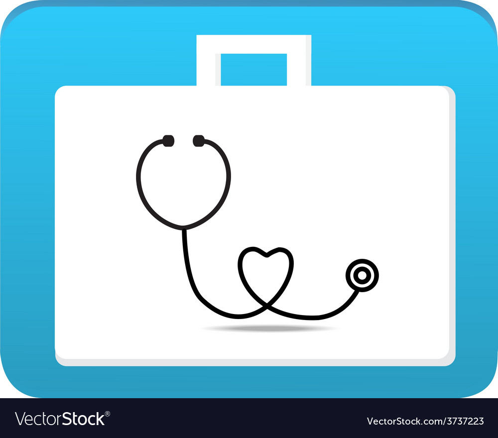 Stethoscope on first aid box icon vector | Price: 1 Credit (USD $1)