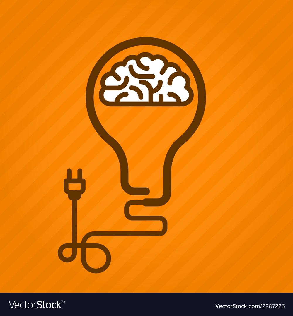 Symbolic light bulb with brain inside and electric vector | Price: 1 Credit (USD $1)