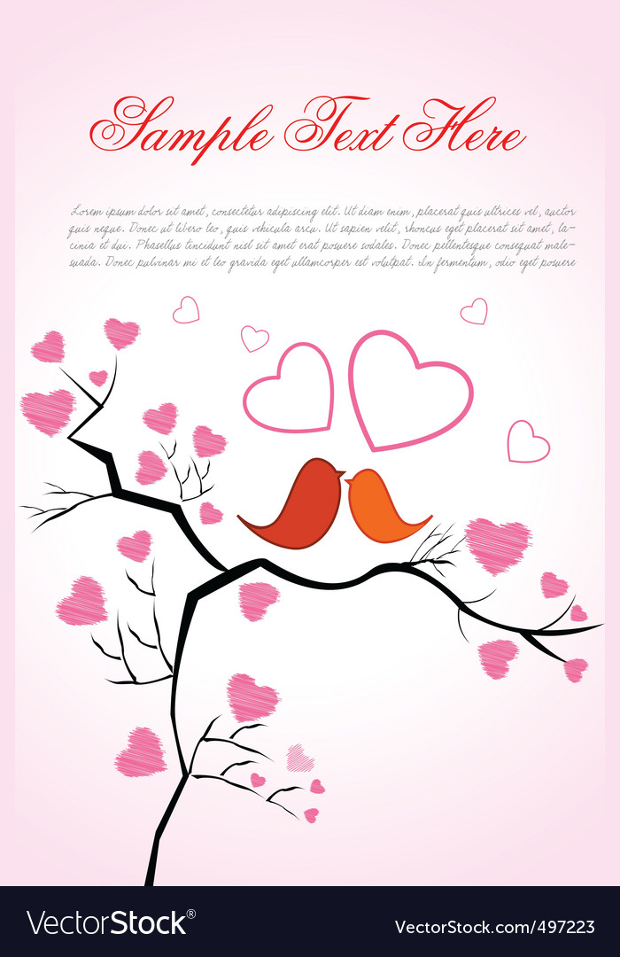 Valentine card with birds vector | Price: 1 Credit (USD $1)