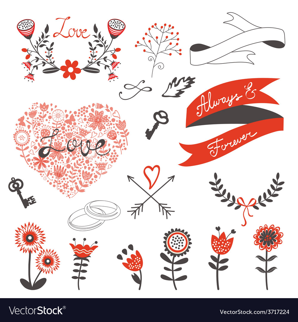 Beautiful love set vector | Price: 1 Credit (USD $1)