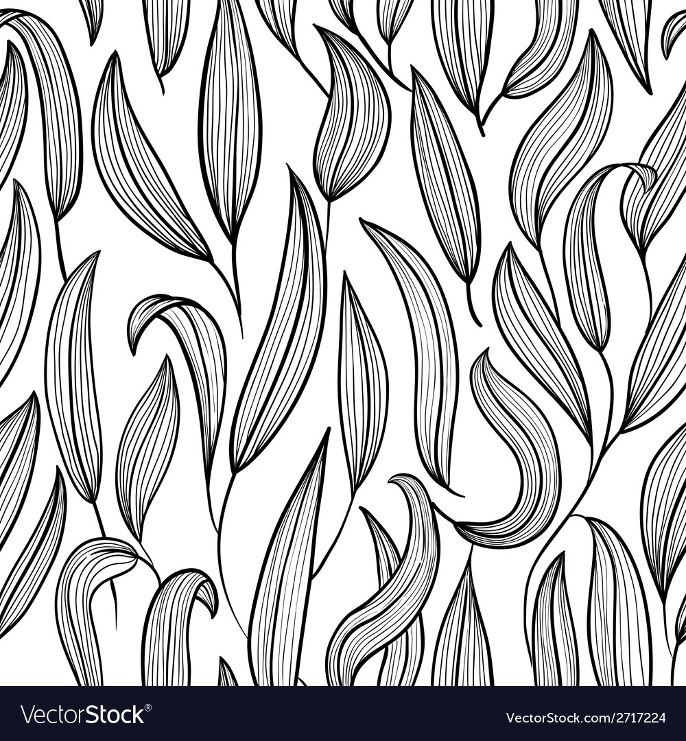 Black and white floral seamless vector | Price: 1 Credit (USD $1)