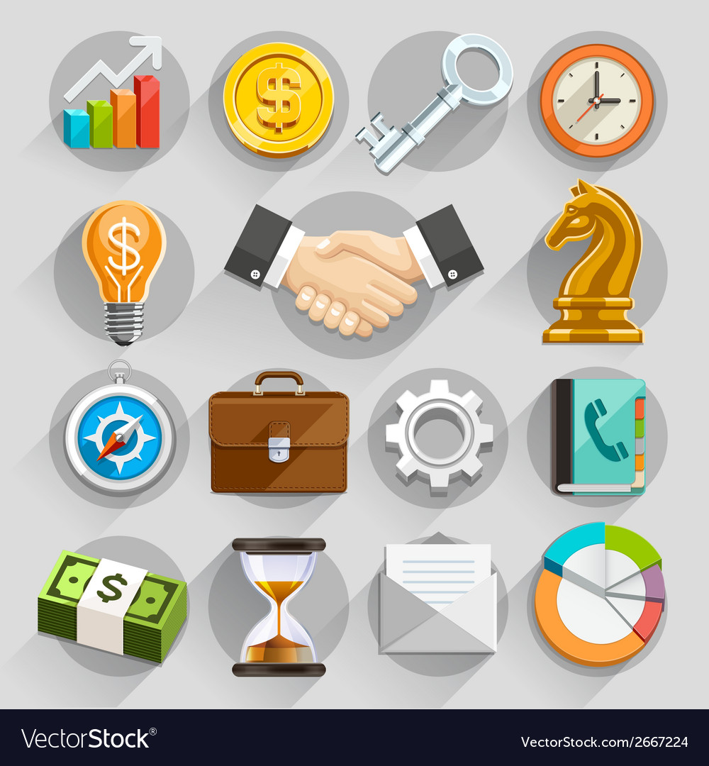 Business flat icons color set vector