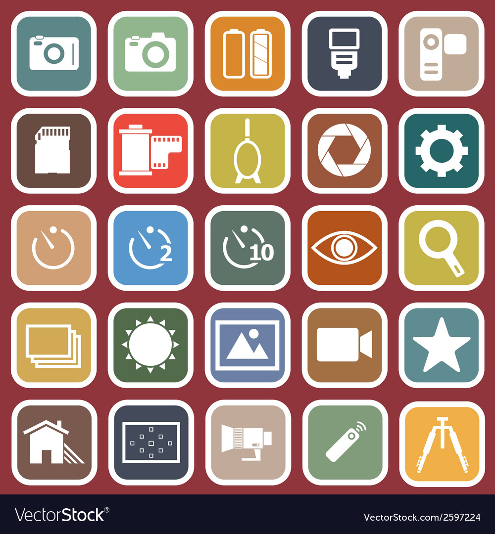 Camera flat icons on red background vector | Price: 1 Credit (USD $1)