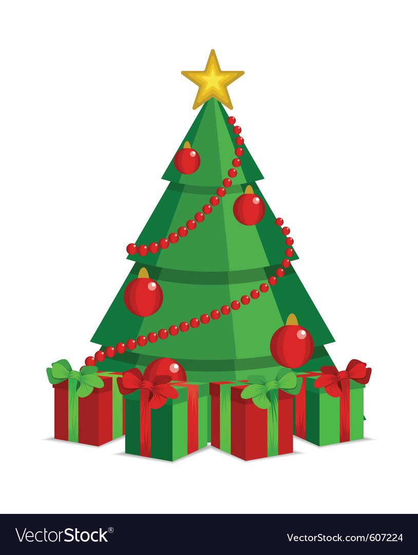 Cartoon christmas tree on white backdrop vector | Price: 1 Credit (USD $1)