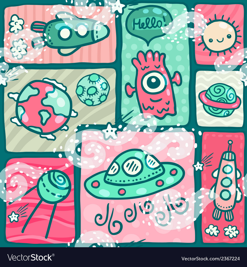 Cute seamless space pattern vector | Price: 1 Credit (USD $1)