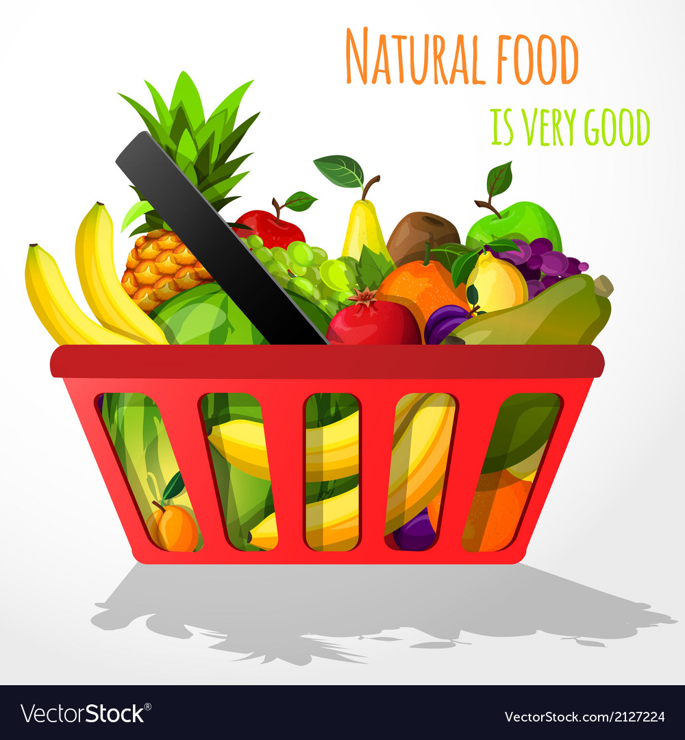 Fruits in shopping basket poster vector | Price: 1 Credit (USD $1)