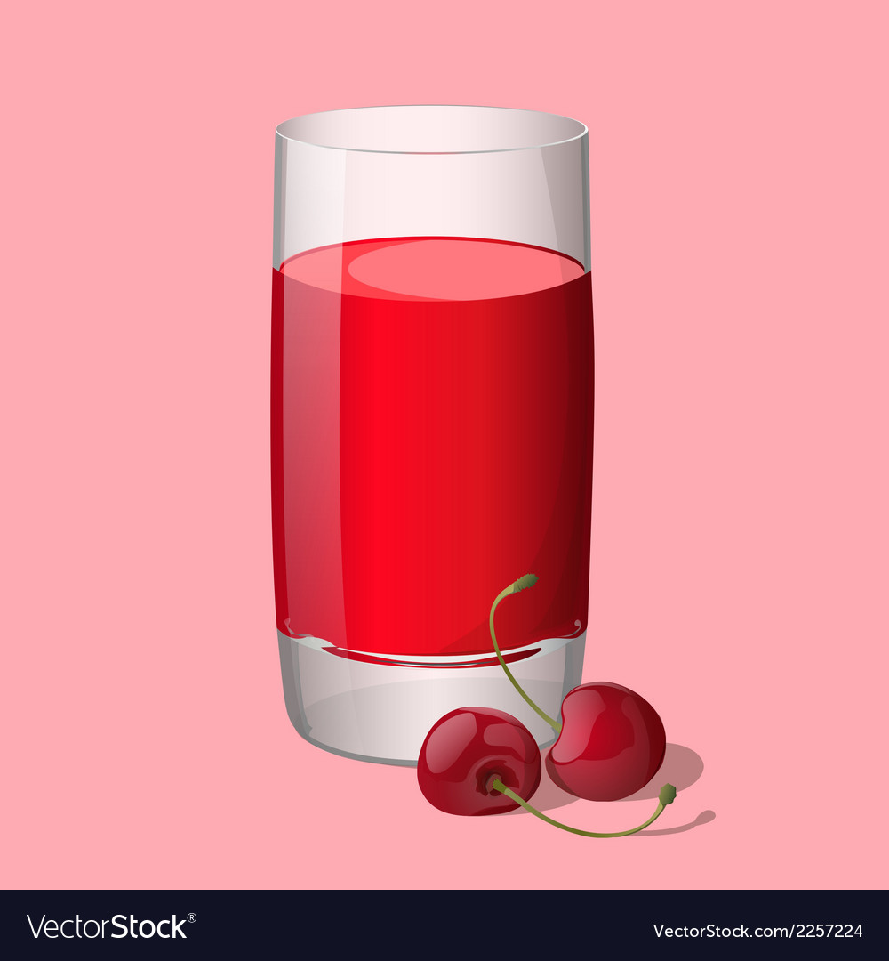Full glass of cherry juice vector | Price: 1 Credit (USD $1)