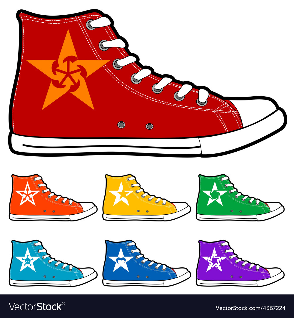 Isolated modern color sneakers vector | Price: 1 Credit (USD $1)