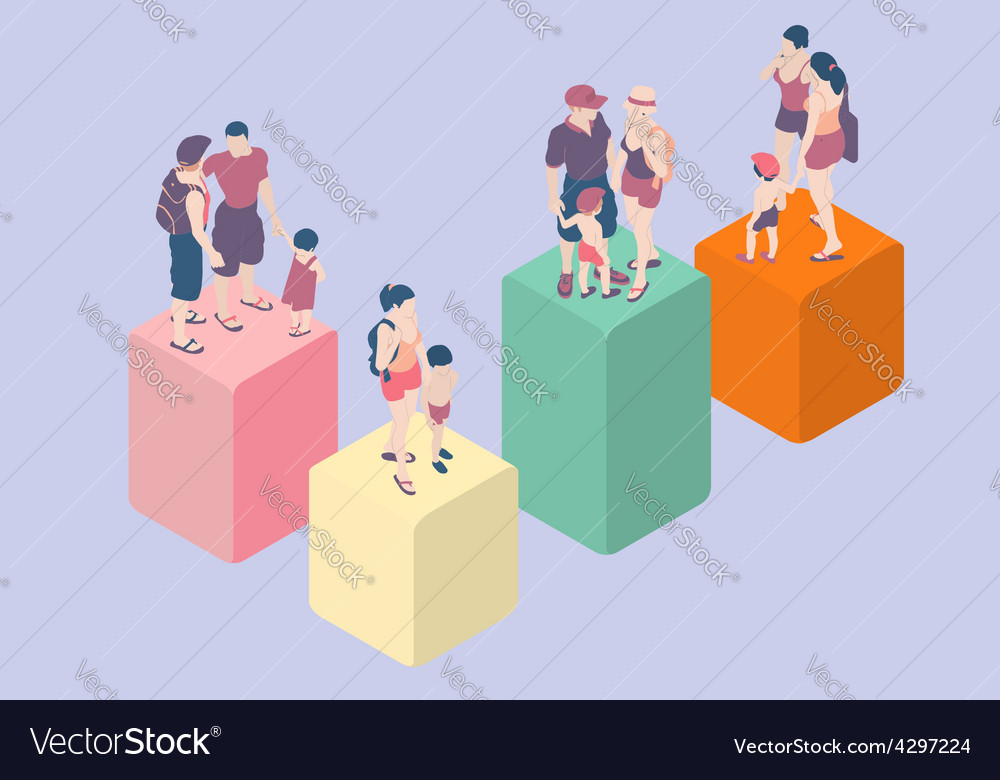 Isometric infographic family types - lgbt included vector | Price: 3 Credit (USD $3)