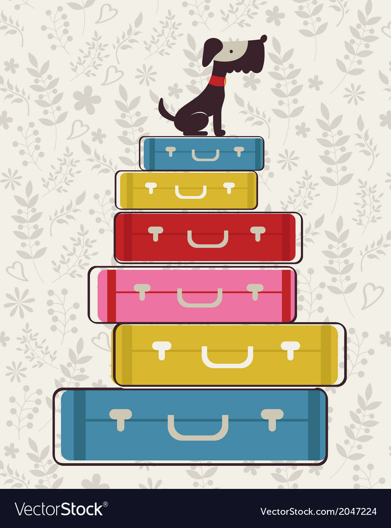Little dog sitting on luggage vector | Price: 1 Credit (USD $1)