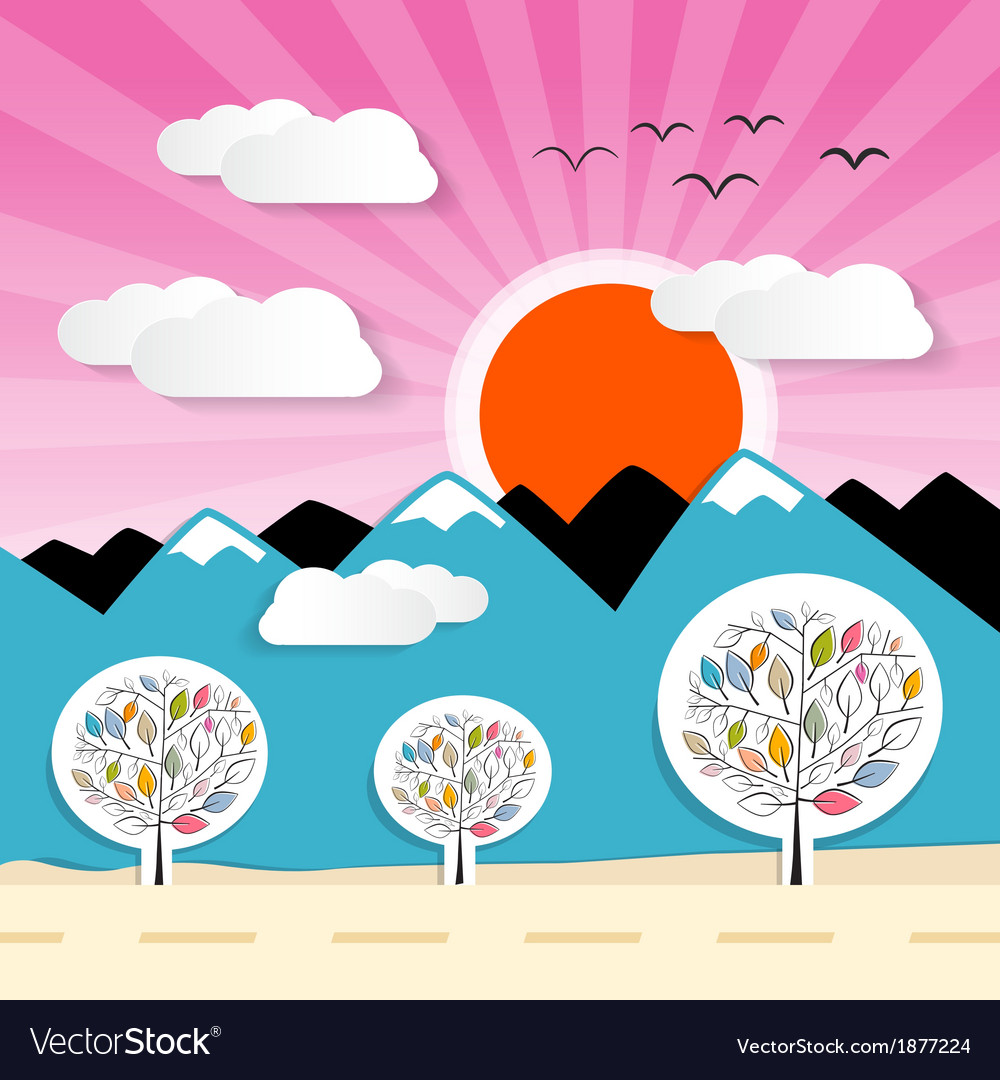 Nature paper mountains with clouds sun pink sky vector | Price: 1 Credit (USD $1)