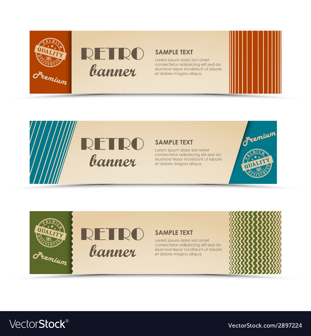 Retro horizontal banners with colored stripes vector | Price: 1 Credit (USD $1)