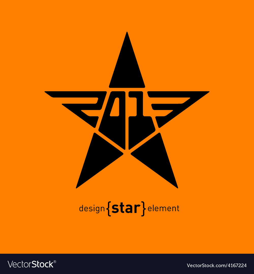 Star with new year date abstract design element vector | Price: 1 Credit (USD $1)