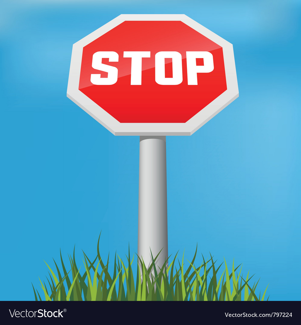 Stop sign in grass vector | Price: 1 Credit (USD $1)