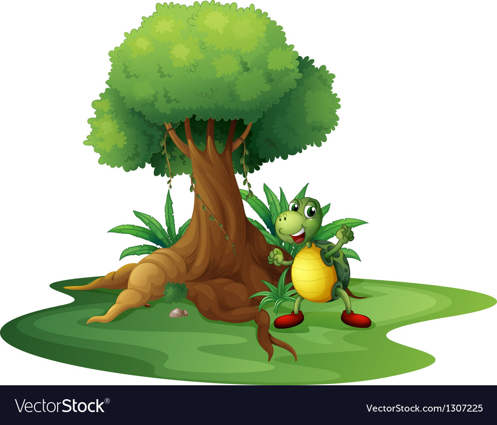 A turtle standing under the big tree vector | Price: 1 Credit (USD $1)