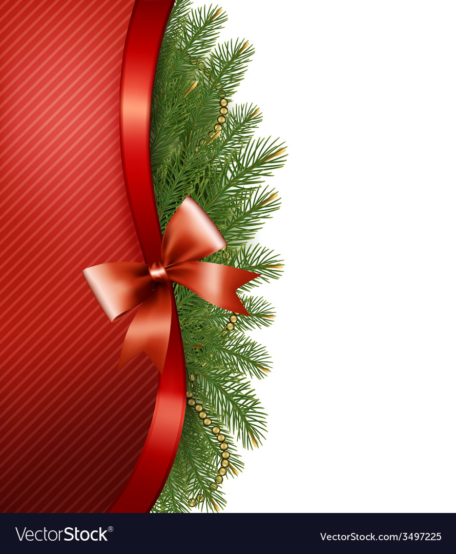 Christmas tree branches with a red ribbon and a vector | Price: 3 Credit (USD $3)