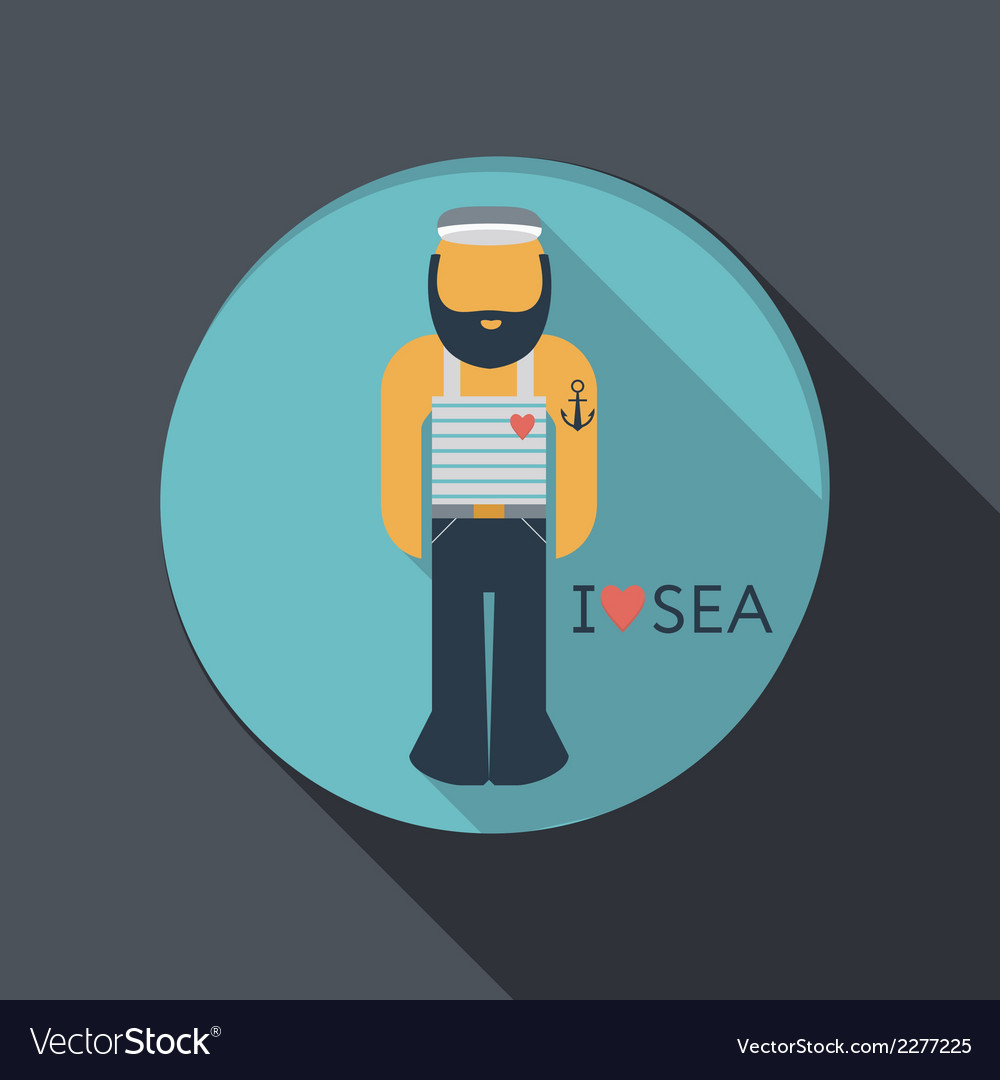 Flat icon sailor with a beard vector | Price: 1 Credit (USD $1)