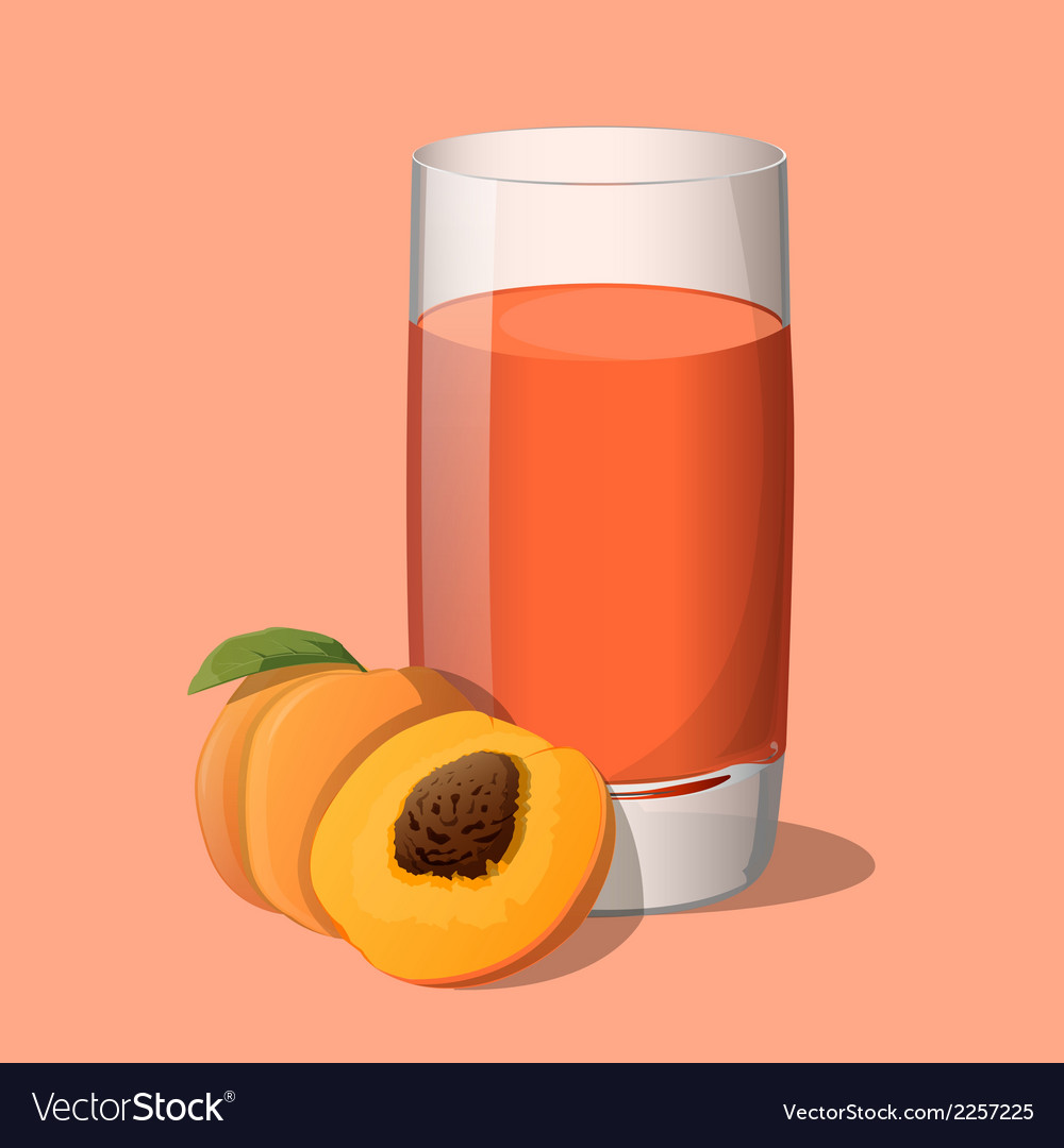 Full glass of peach juice vector | Price: 1 Credit (USD $1)