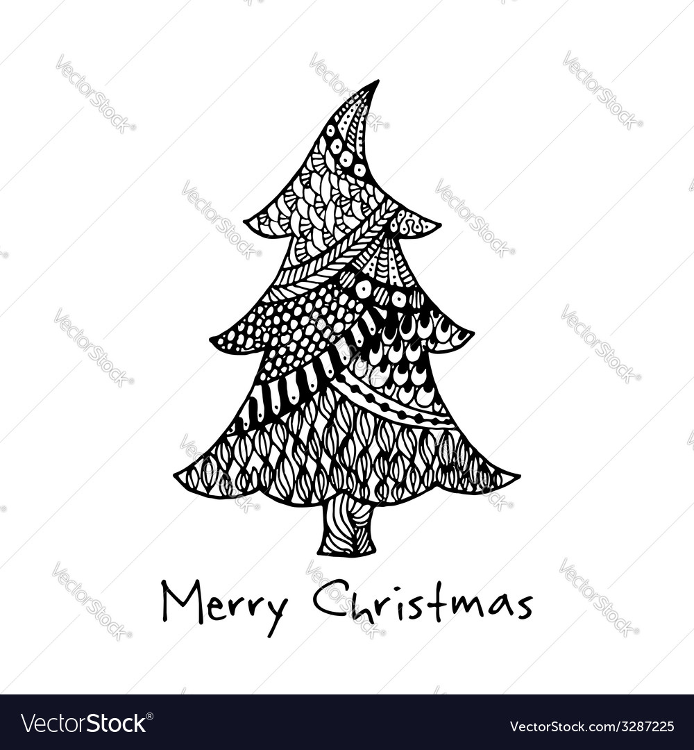 Greeting card with hand drawn christmas tree vector | Price: 1 Credit (USD $1)