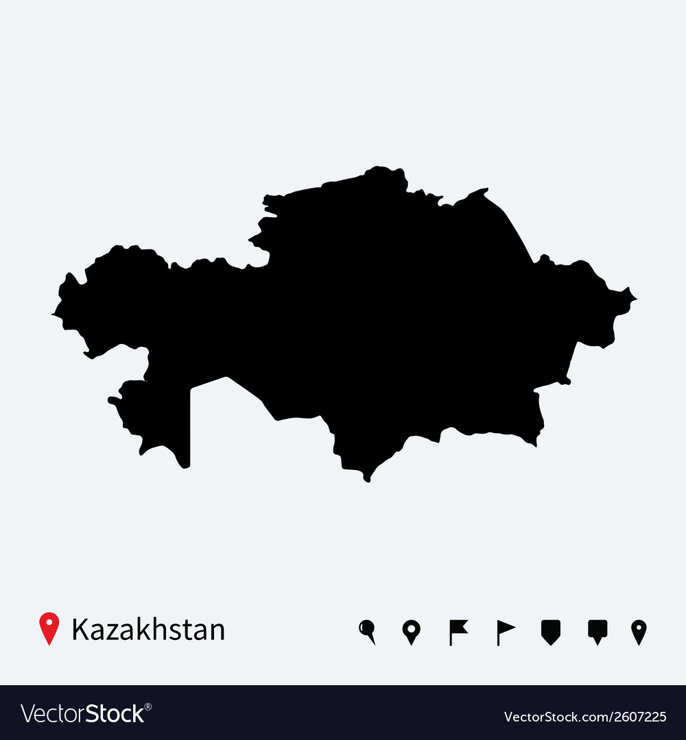 High detailed map of kazakhstan with navigation vector | Price: 1 Credit (USD $1)