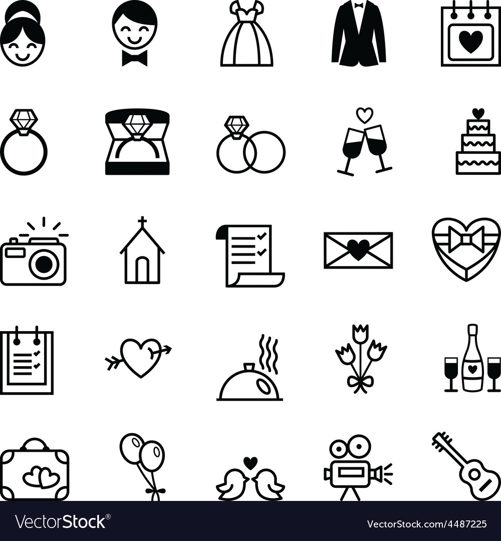 Icons preparation for the wedding vector | Price: 1 Credit (USD $1)