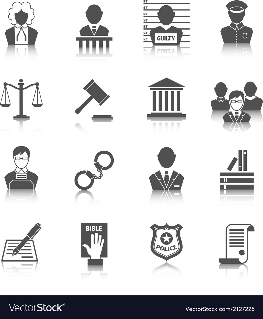 Law and justice icons set vector   Price: 1 Credit (USD $1)