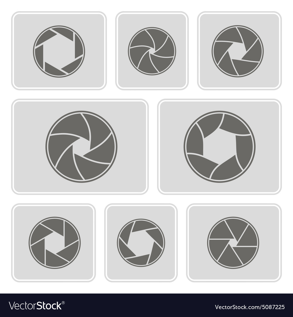 Monochrome icons with camera shutter vector