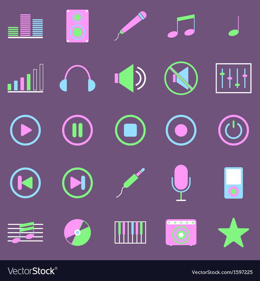 Music color icons on violet background vector | Price: 1 Credit (USD $1)