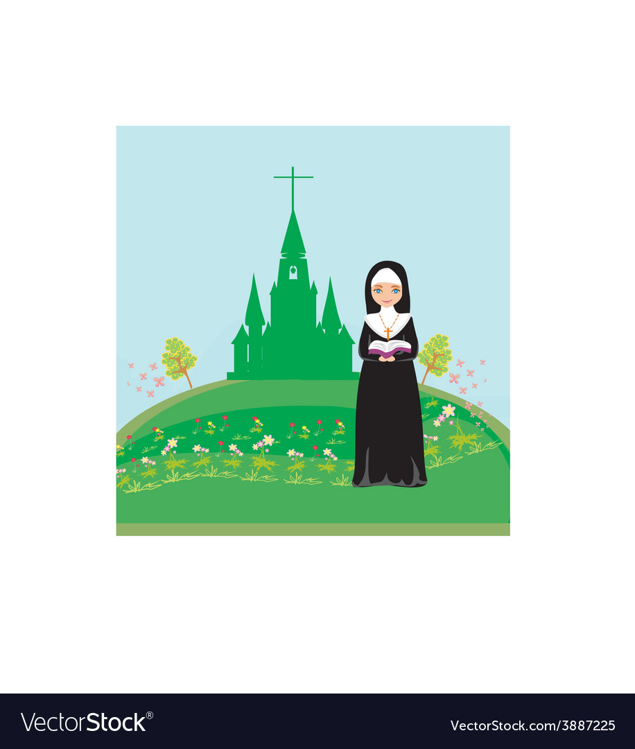 Nun praying in front of the church vector | Price: 1 Credit (USD $1)