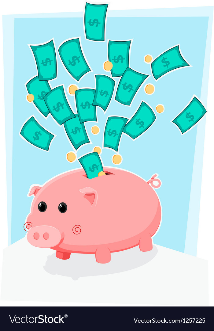 Piggy bank with money vector | Price: 3 Credit (USD $3)