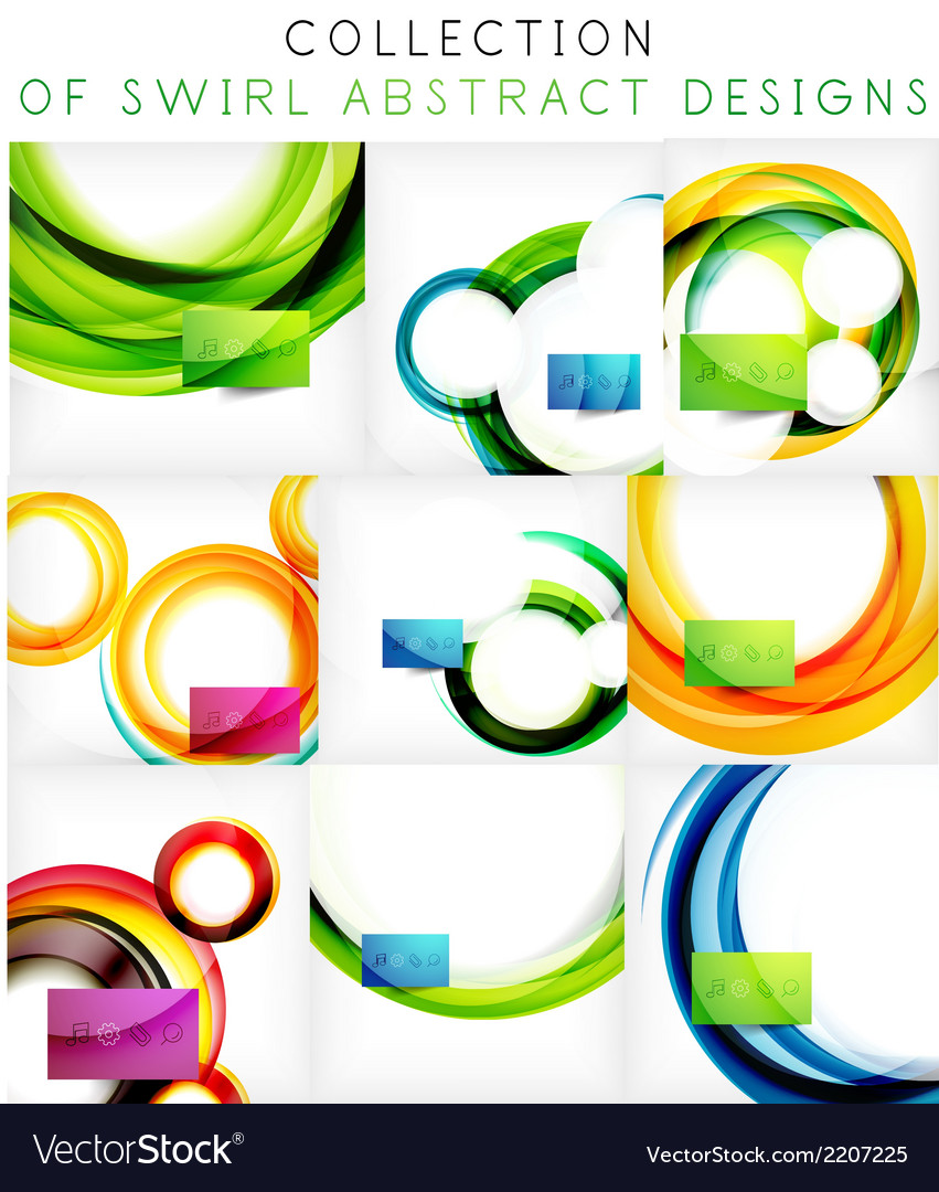 Set of colorful swirl motion templates vector | Price: 1 Credit (USD $1)