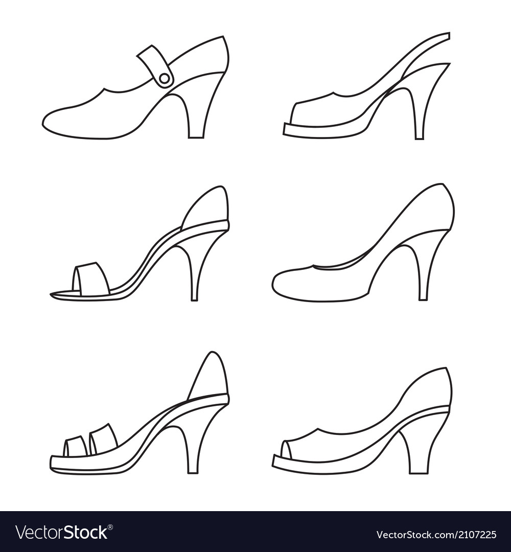 Set of outline high heels shoes vector | Price: 1 Credit (USD $1)