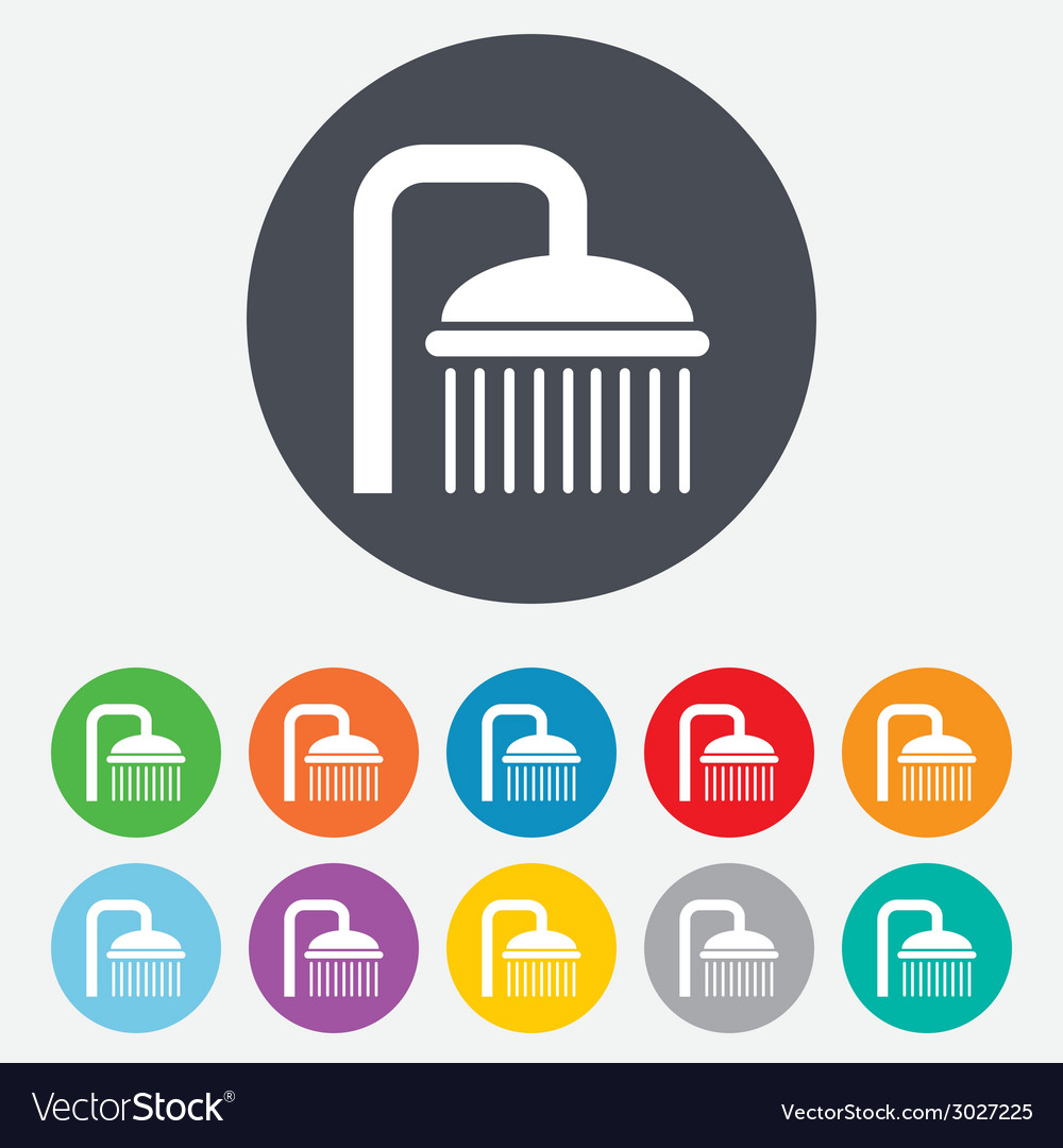 Shower sign icon douche with water drops symbol vector   Price: 1 Credit (USD $1)