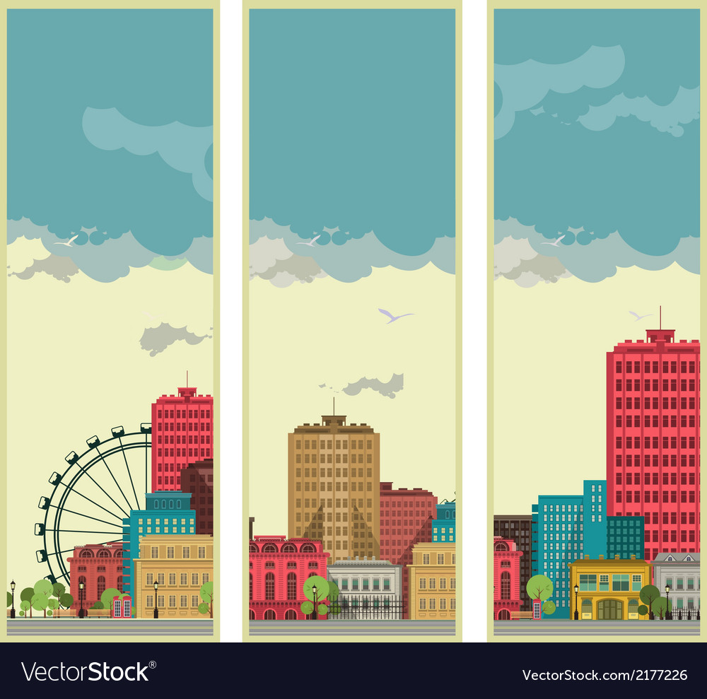 Banners set streetscapes vector | Price: 1 Credit (USD $1)