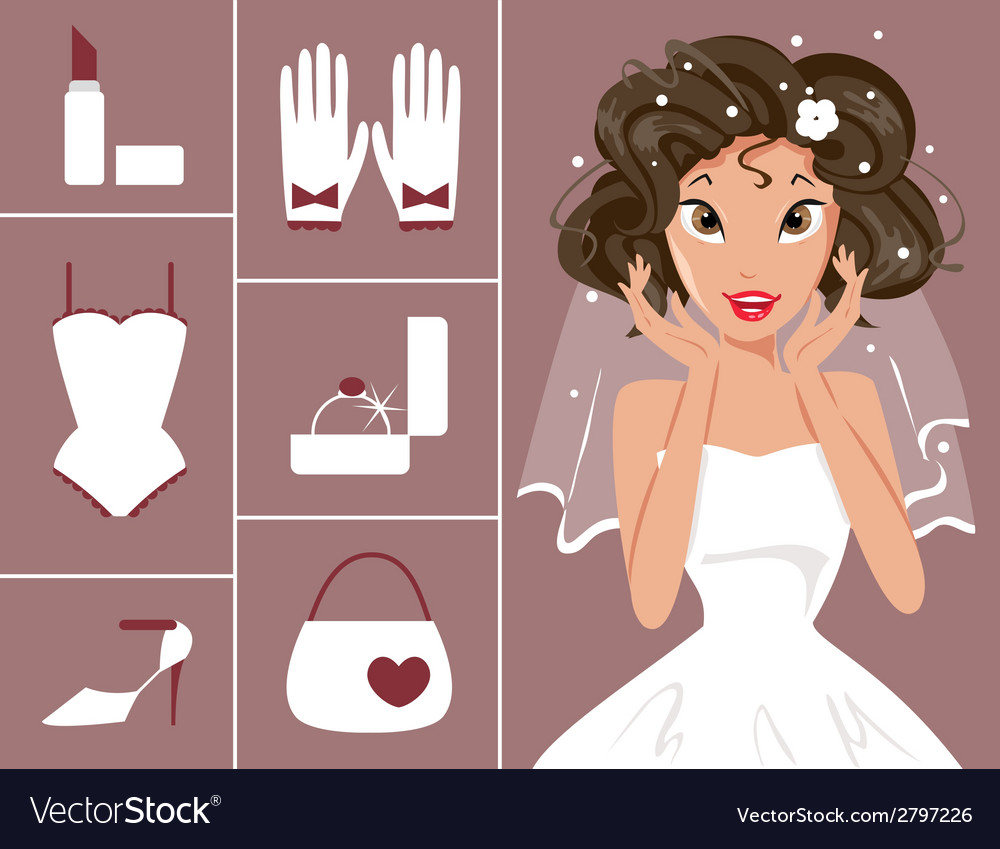 Bride and wedding accessories vector | Price: 1 Credit (USD $1)