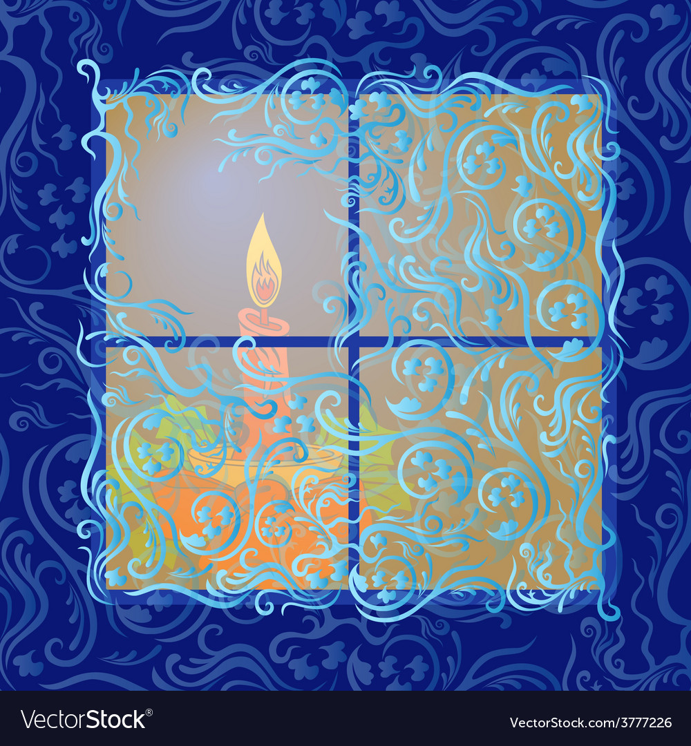 Candle shines in frozen window vector | Price: 1 Credit (USD $1)