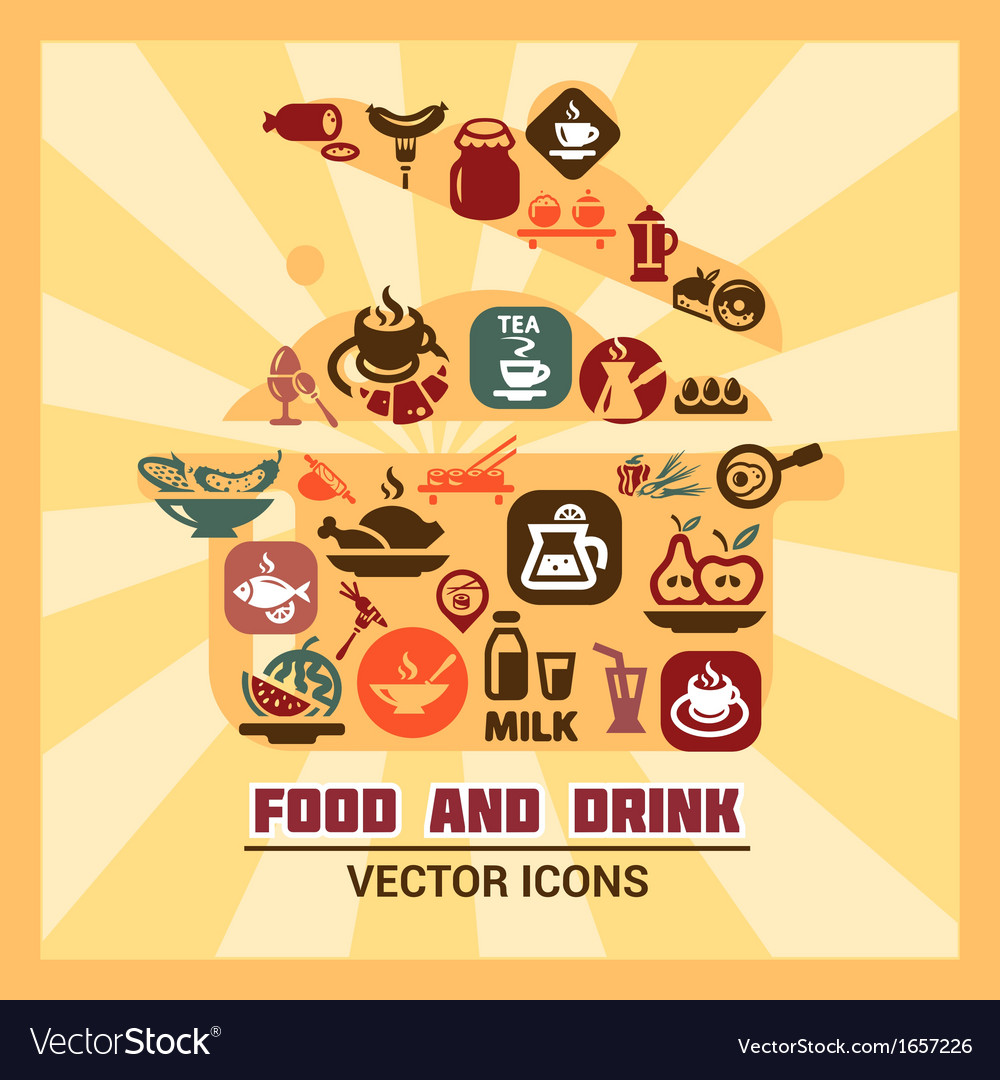 Colorful food and drink icons vector | Price: 1 Credit (USD $1)