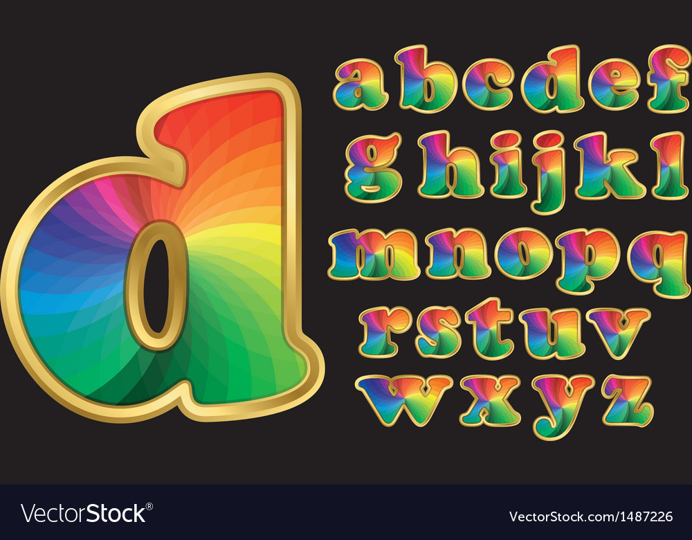 Colorful rainbow alphabet with gold frame vector | Price: 3 Credit (USD $3)