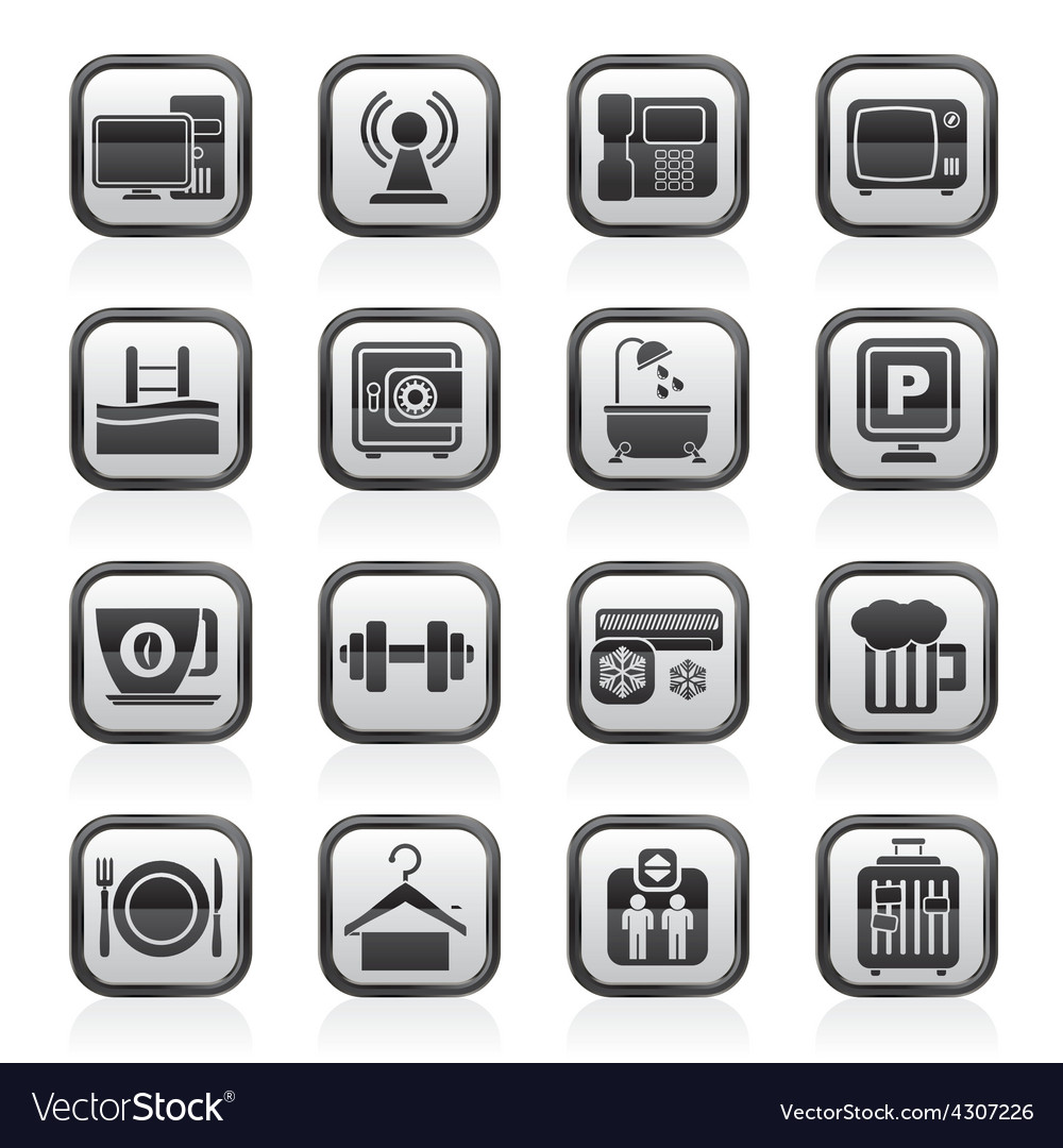 Hotel amenities services icons vector | Price: 1 Credit (USD $1)