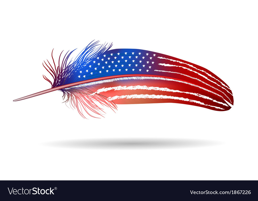 Isolated feather american flag vector | Price: 1 Credit (USD $1)