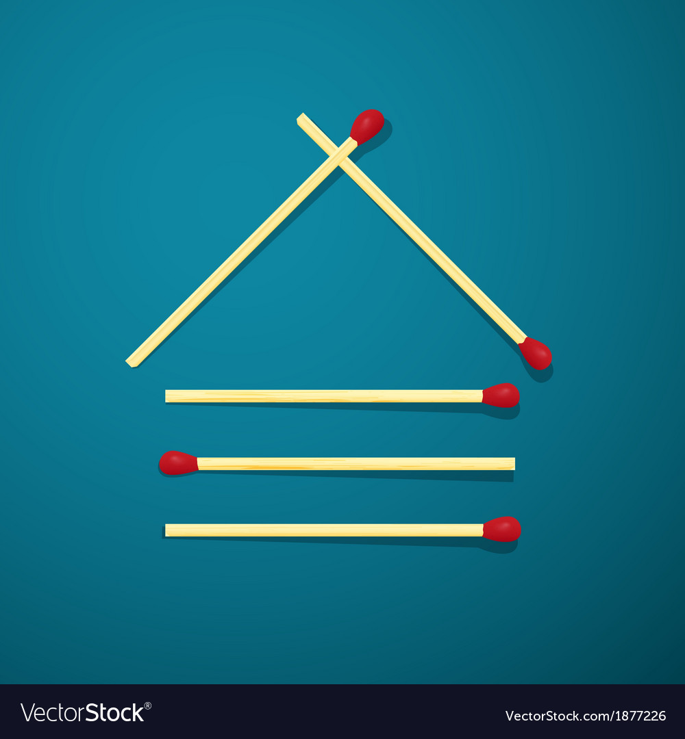 Log house made from matches on blue background vector   Price: 1 Credit (USD $1)